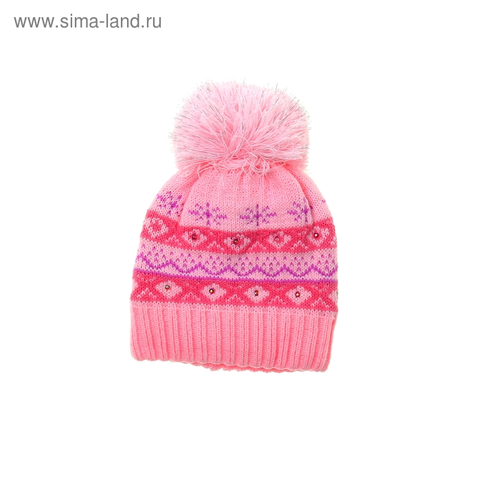 Шапка дет.зимняя Снегурочка, объем головы 46-48см (1-2года), цвет розовый