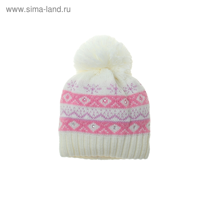 Шапка дет.зимняя Снегурочка, объем головы 46-48см (1-2года), цвет экрю