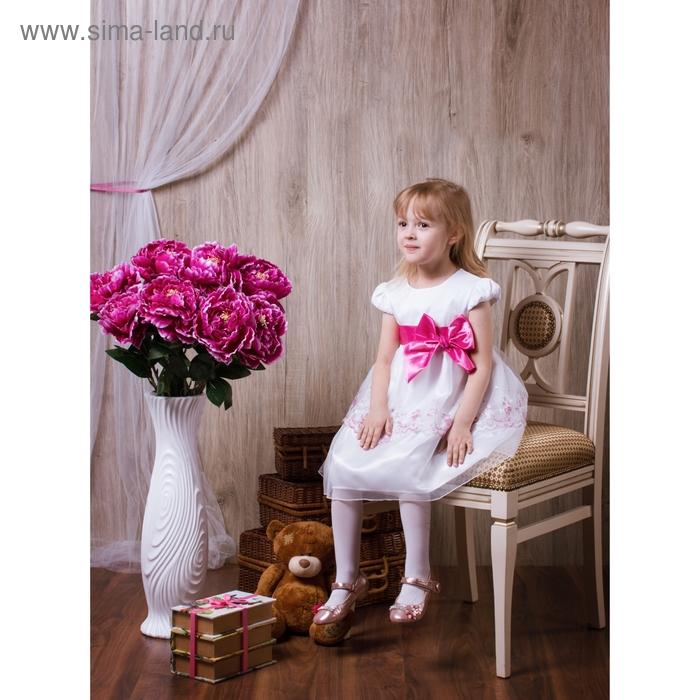 Платье Жасмина рост 116см (60), цвет белый, малиновый бант