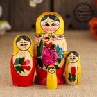 Матрёшка «Розочка», традиционная, жёлтый платок, 4 кукольная, 9 см