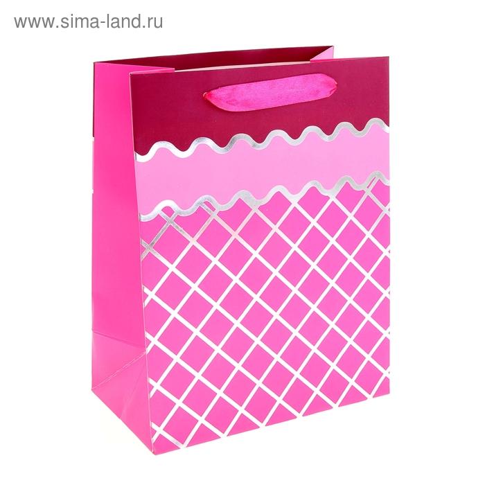 """Пакет ламинированный """"Сетка"""", цвет малиновый"""