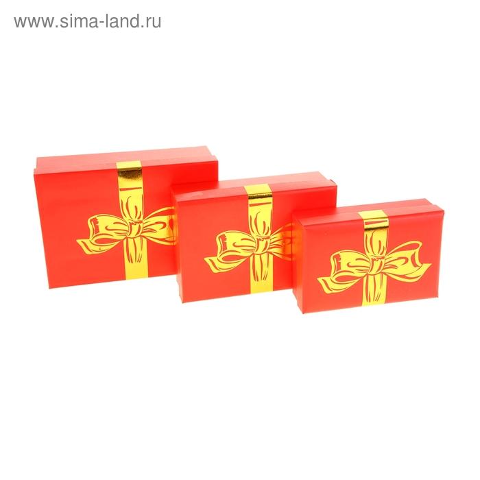"""Набор коробок 3в1 """"Золотой бантик"""", цвет красный"""