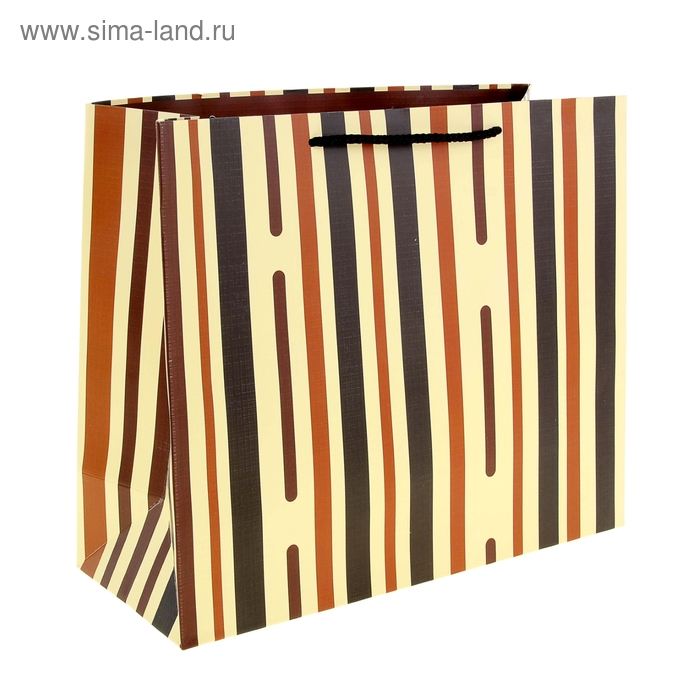 """Пакет ламинированный """"Пунктир"""", полоска коричневая"""