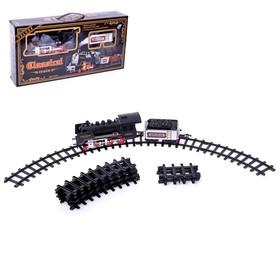 Железная дорога 'Классический паровоз', 18 деталей, световые и звуковые эффекты, с дымом, работает от батареек, длина пути 420 см Ош