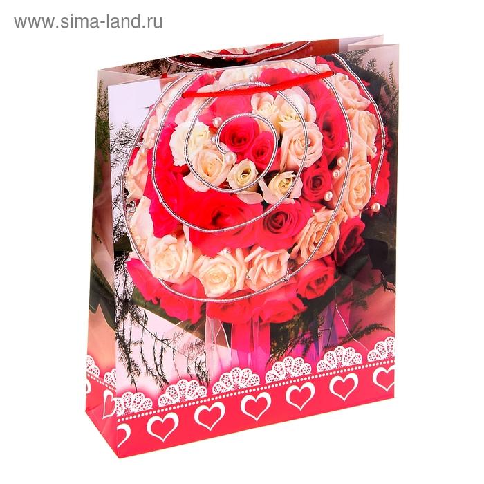 """Пакет ламинированный """"Белые и красные розы"""""""