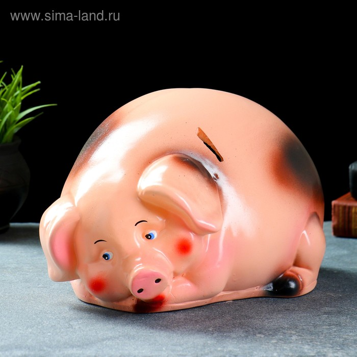 "Копилка ""Свинка"" круглая, бежевая"