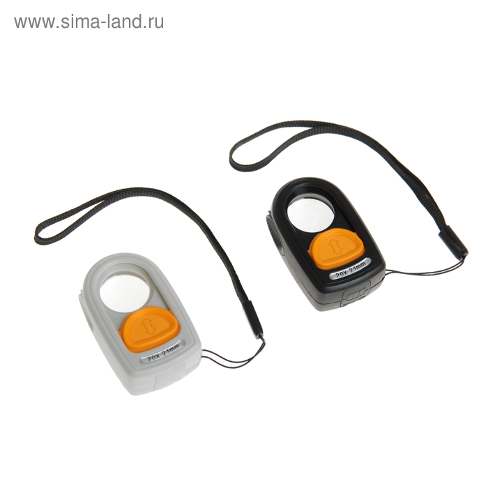 Лупа 10х, d=2.1 см, компактная, LED, компас, петля для ношения, 3.5х5.5 см