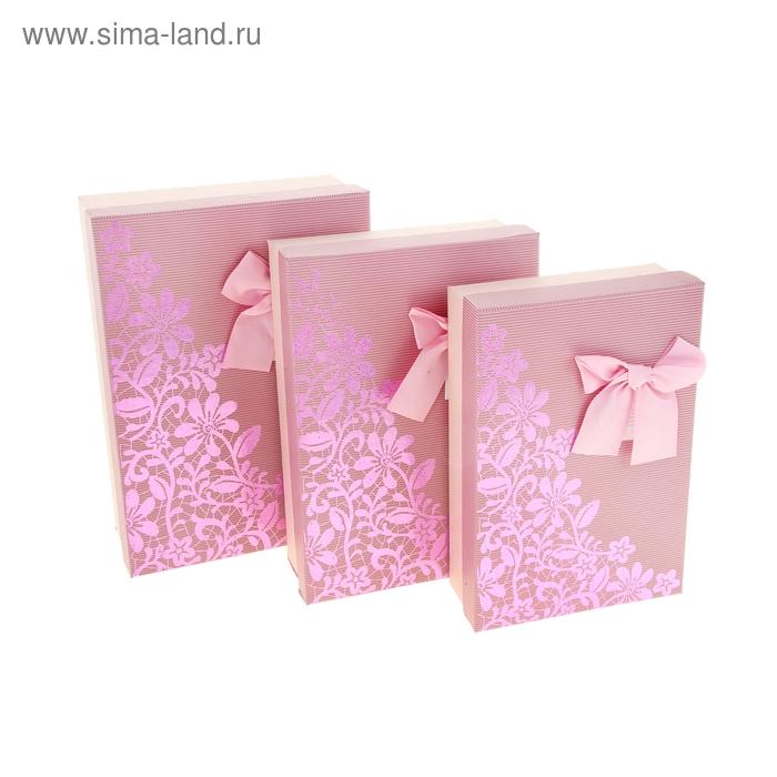 """Набор коробок 3в1 """"Узор"""", цвет розовый"""