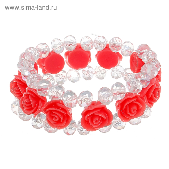 """Браслет ассорти """"Нежность розы"""", цвет коралловый"""