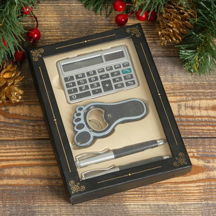 Набор подарочный 4в1 (2 ручки, открывалка ножка, калькулятор), в карт. коробке, чёр, 17х12 см