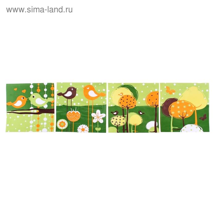 """Наклейка интерьерная EVA набор 4 шт """"Птицы в саду"""""""