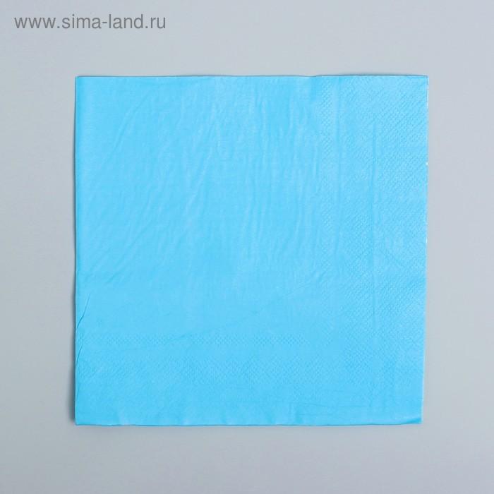 Салфетки бумажные (набор 20 шт) 33*33 см Однотонные, голубой