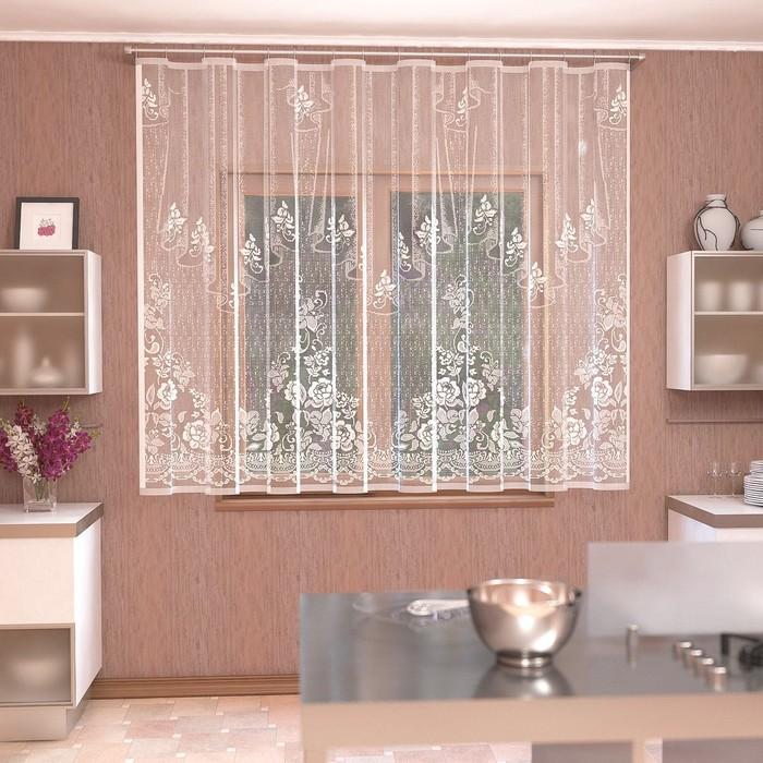 Штора кухонная со шторной лентой, ширина 290 см, высота 170 см, цвет белый