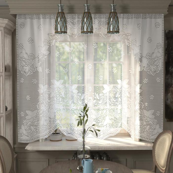Штора кухонная со шторной лентой, ширина 285 см, высота 167 см, цвет белый