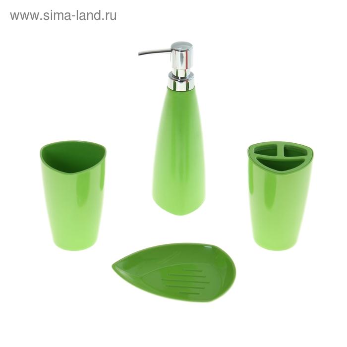 Набор в ванную Leaf, 4 предмета: мыльница, дозатор для мыла, 2 стакана, зеленый