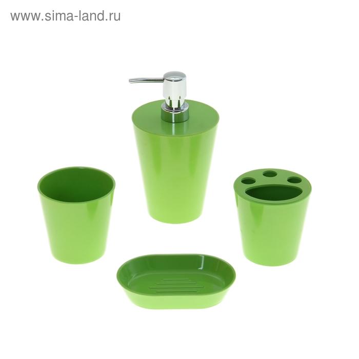 """Набор в ванную """"Нежность"""", 4 предмета: мыльница, дозатор для мыла, 2 стакана, зеленый"""