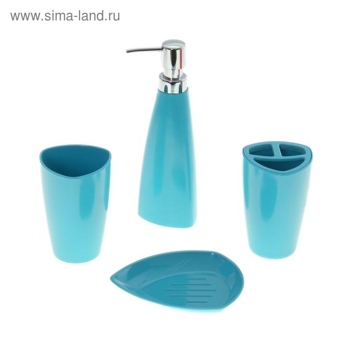 Набор в ванную Leaf, 4 предмета: мыльница, дозатор для мыла, 2 стакана, синий