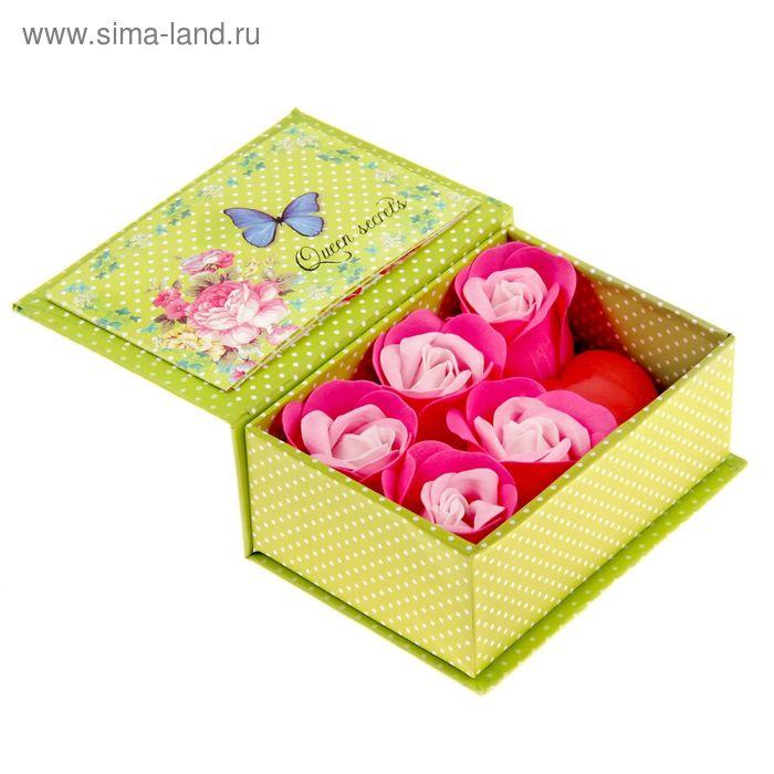 """Набор мыльных лепестков """"С 8 марта"""", смешанный, красное сердце, с открыткой, в шкатулке, цвет розовый"""