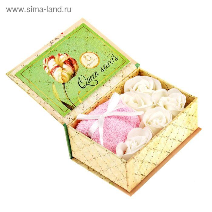 """Набор мыльных лепестков """"Очаровательной и привлекательной"""", полотенце розовое, с открыткой, в шкатулке, цвет белый"""