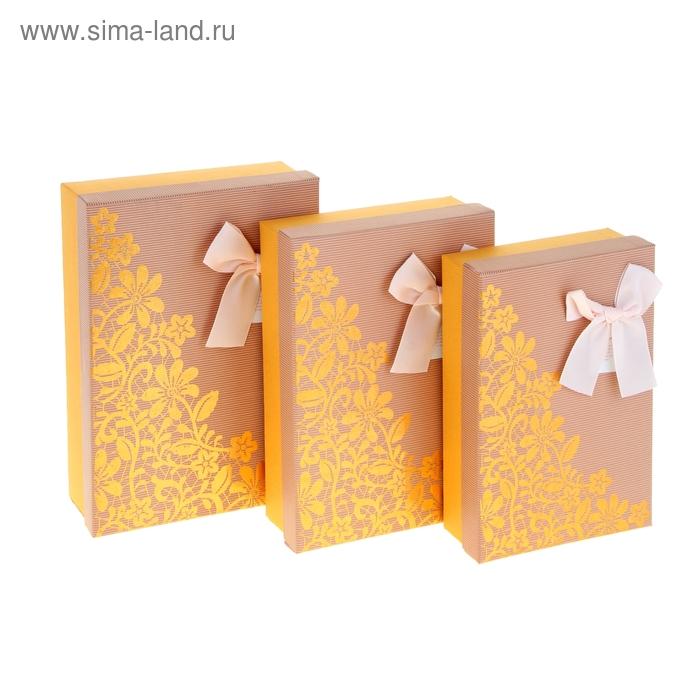 """Набор коробок 3в1 """"Узор"""", цвет оранжевый"""