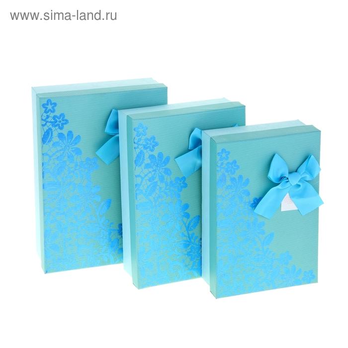 """Набор коробок 3в1 """"Узор"""", цвет голубой"""