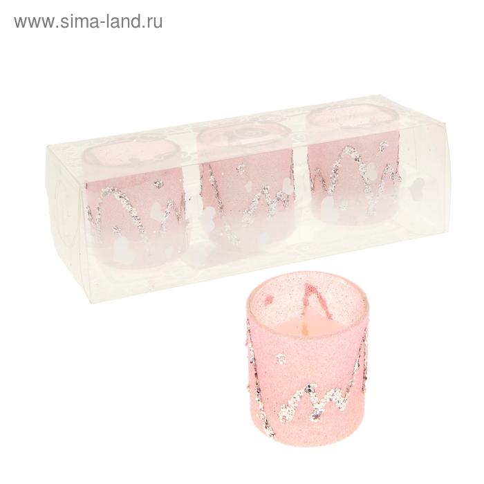 """Свечи восковые (набор 3 шт) """"Сияние"""", цвет розовый"""