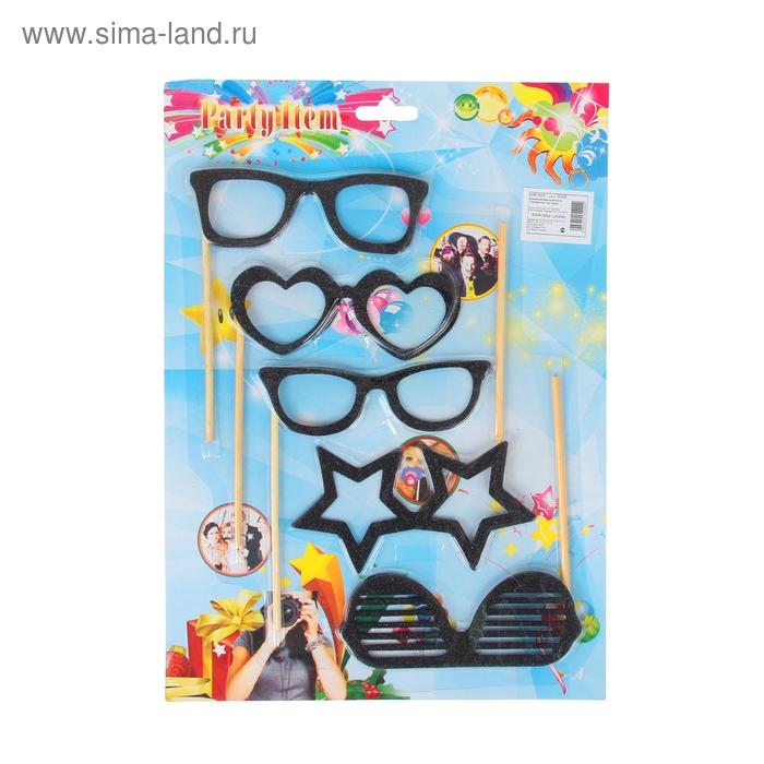 """Аксессуары для фотосессии на палочке """"Гламурные очки"""" (набор 5 шт.), цвет: черный"""