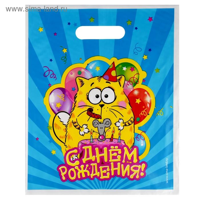 """Пакет подарочный полиэтиленовый """"С Днем Рождения"""""""