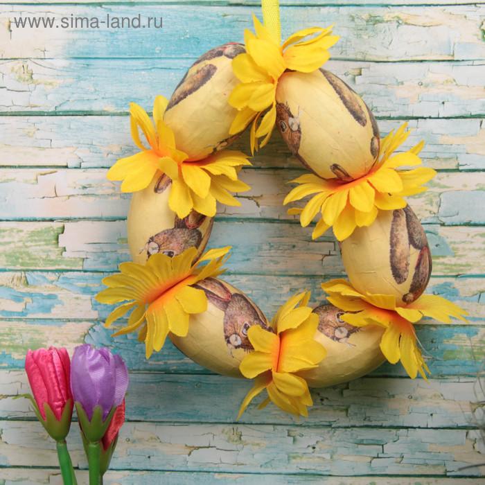 """Сувенир - пасхальное панно """"Зайка с цветочками"""" d=14 см"""