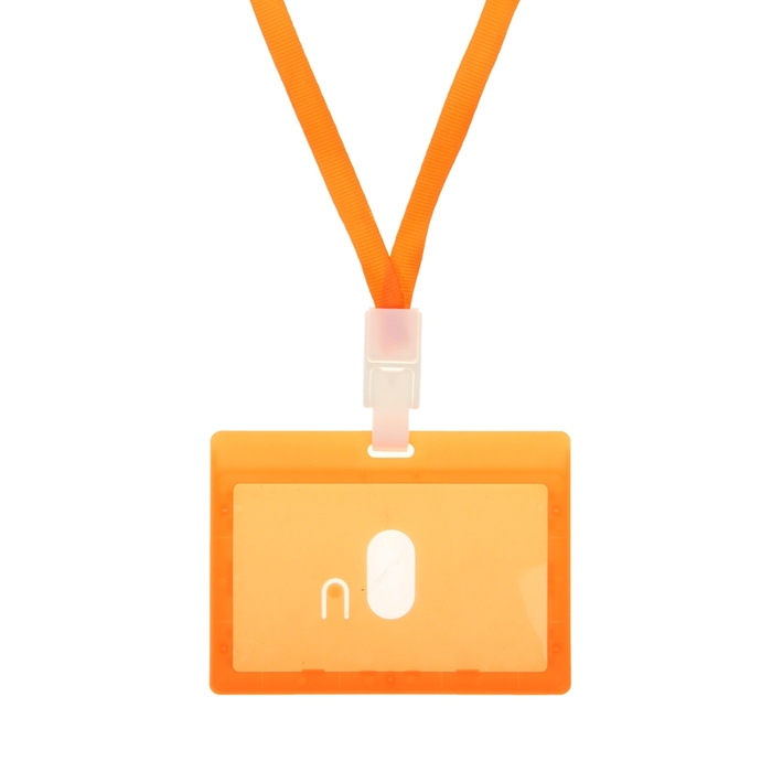 Бейдж-карман горизонтальный 90*54мм ОРАНЖЕВЫЙ с оранжевой лентой, жесткокаркасный