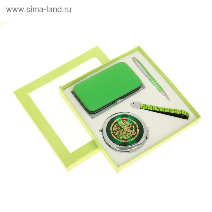 Набор подарочный 4в1 в карт.коробке (ручка+зеркало+подвеска на телефон+ набор маникюрн) зелен