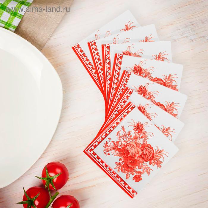 """Салфетки бумажные (набор 20 шт) 33*33 см """"Букет"""", цвет красный"""