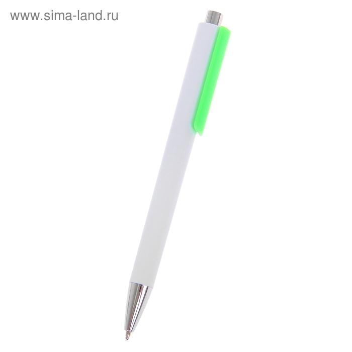 Ручка шариковая автоматическая Лого корпус белый с зеленым держателем, стержень синий