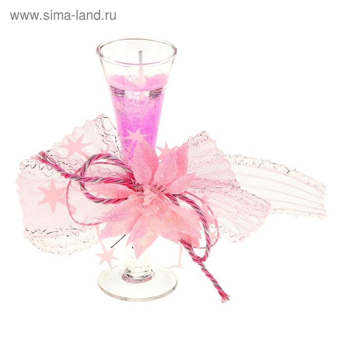 """Свеча гелевая """"Нежный цветок"""", цвет розовый"""