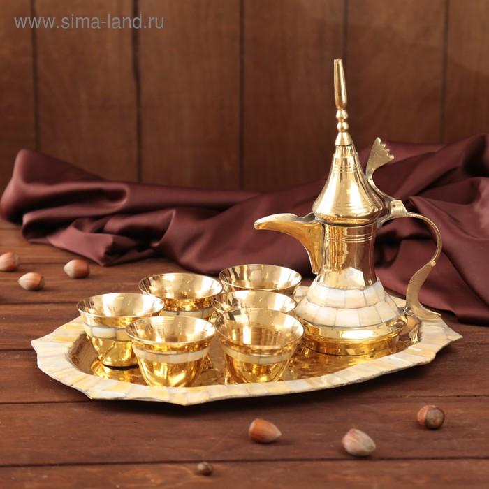 """Набор посуды с перламутровыми вставками """"Рахат Лукум"""": поднос, 6 чашек, чайник"""