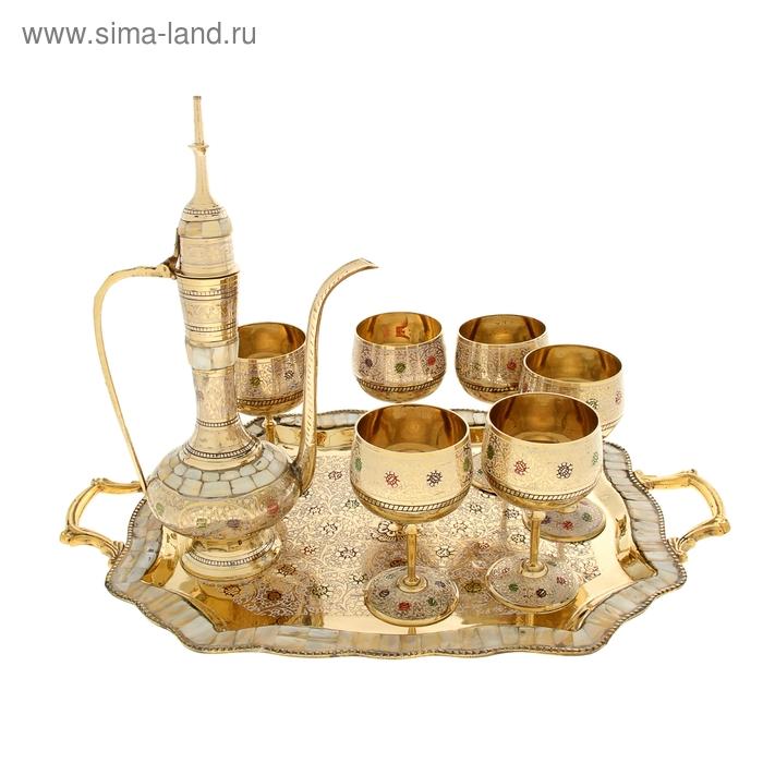 """Набор посуды с перламутровыми вставками и цветной эмалью """"Минарет"""": поднос, 6 чашек, чайник"""