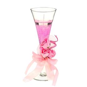 """Свеча гелевая """"Королевский цветок"""", цвет розовый"""