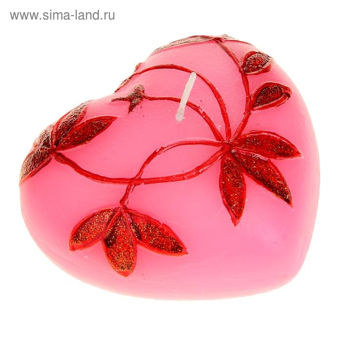 """Свеча восковая """"Сердце и листочки"""", цвет розовый"""