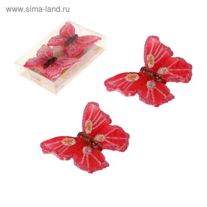 """Свечи восковые (набор 2 шт) """"Бабочка"""", цвет красный"""