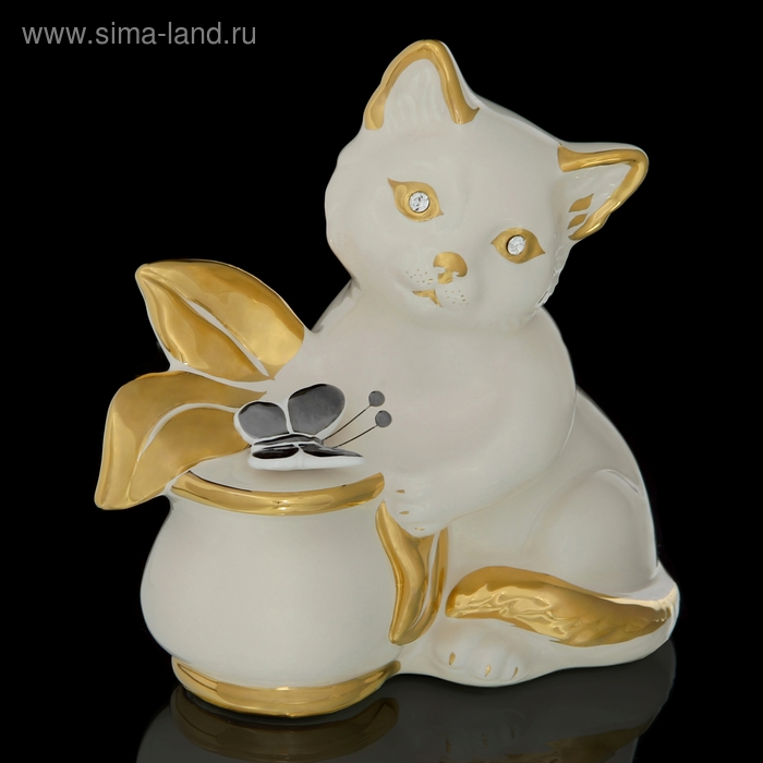 "Статуэтка ""Кошка и бабочка"" белая со стразами Swarowski"