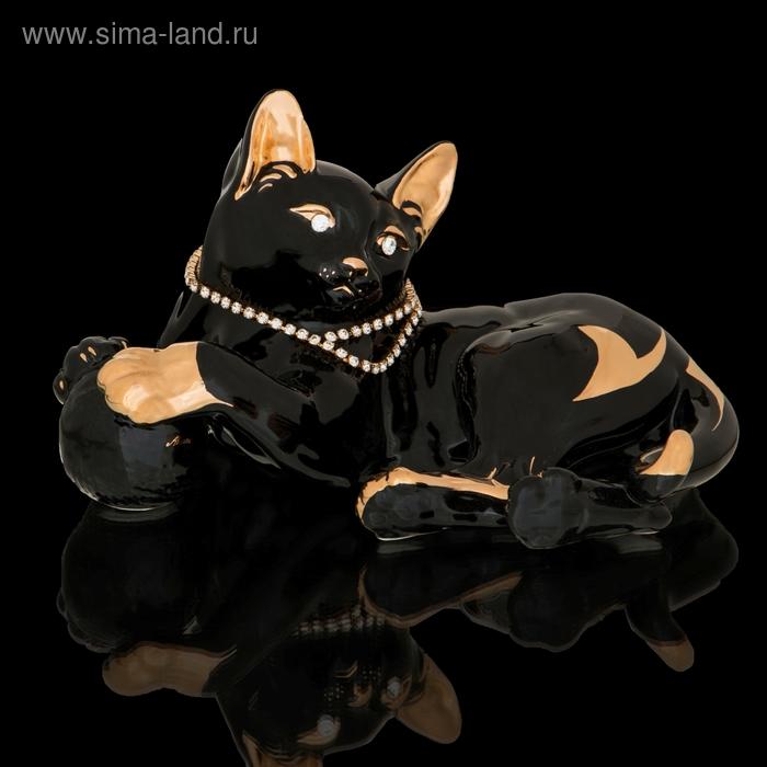 """Статуэтка """"Кошка с клубком"""" черная со стразами Swarowski"""