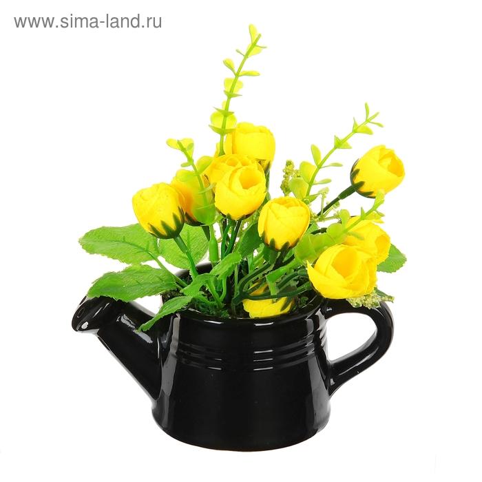 """Композиция в чёрном глянцевом чайничке """"Розы"""" (микс)"""
