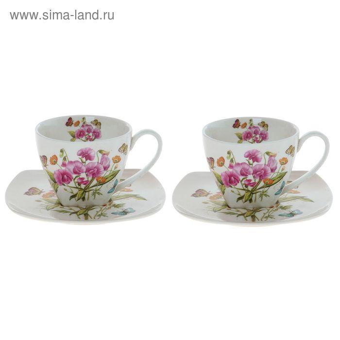 """Сервиз чайный """"Орхидея с бабочками"""", 4 предмета: 2 чашки 250 мл, 2 блюдца 150 мм"""