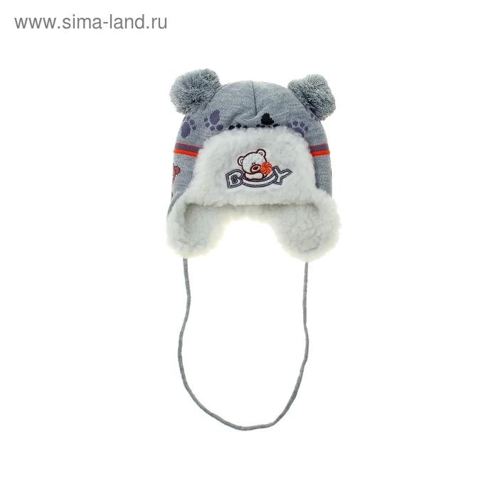 Шапка дет.зимняя Медведь, объем головы 42-44см (3-6мес), цвет серый