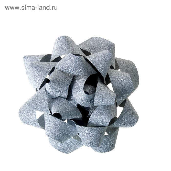 """Бант-звезда №12 """"Алмазная крошка"""", цвет серебряный"""