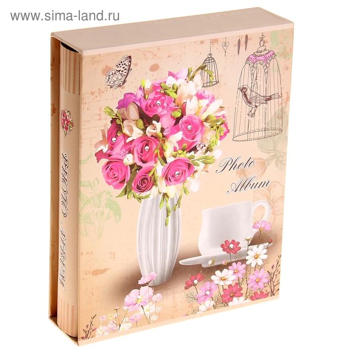 """Фотоальбом на 100 фото 10х15 см """"Цветы со стразами в вазе"""" в коробке, микс"""