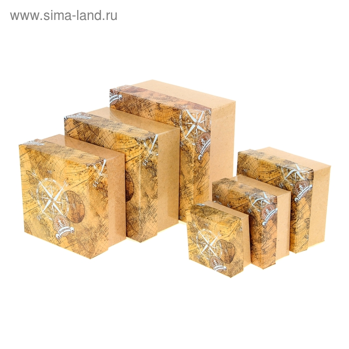 """Набор подарочных коробок 6 в1 """"Старинная карта"""""""