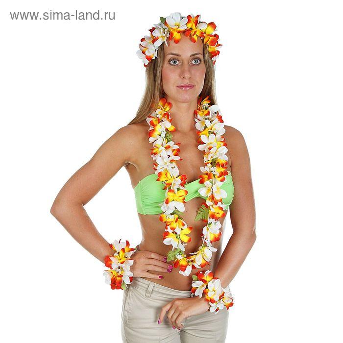 """Гавайский набор """"Цветы"""", 4 предмета: два браслета, венок, ожерелье"""