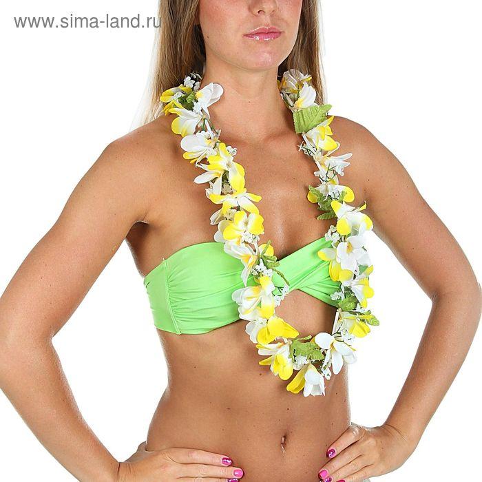 """Гавайское ожерелье """"Ромашки"""", лепестки бело-желтые"""