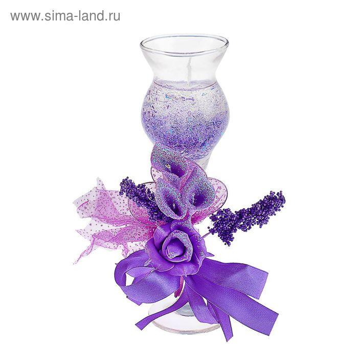 """Свеча гелевая """"Цветочная фантазия"""", цвет фиолетовый"""